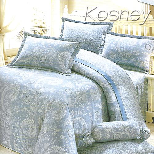 《KOSNEY 》藍情意(頂級加大活性精梳棉六件式床罩組台灣精製)