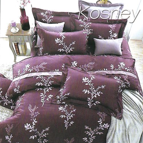 《KOSNEY 》繁葉雅致紫(頂級加大活性精梳棉六件式床罩組台灣精製)