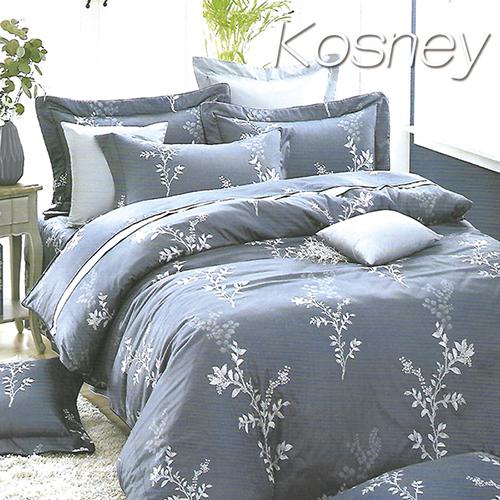 《KOSNEY 》繁葉雅致藍(頂級加大活性精梳棉六件式床罩組台灣精製)