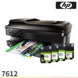 [搭1黑3彩原廠墨水]HP Officejet 7612 A3+無線多功能傳真事務機