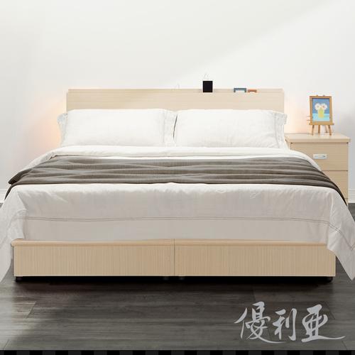 【優利亞-日式文青風雙側崁燈】雙人五尺床頭片(3色)