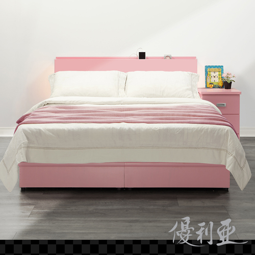 【優利亞-日式文青風雙側崁燈】雙人五尺床頭片+床座(粉紅)