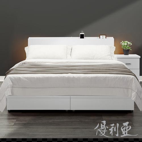 【優利亞-日式文青風雙側崁燈】雙人五尺床頭片+床座(白色)
