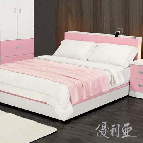 【優利亞-日式文青風雙側崁燈】雙人五尺床頭片+床座 (粉紅/白)