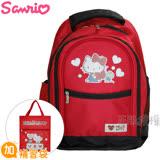 Hello Kitty凱蒂貓 書包+補習袋(愛心多功能雙層款)