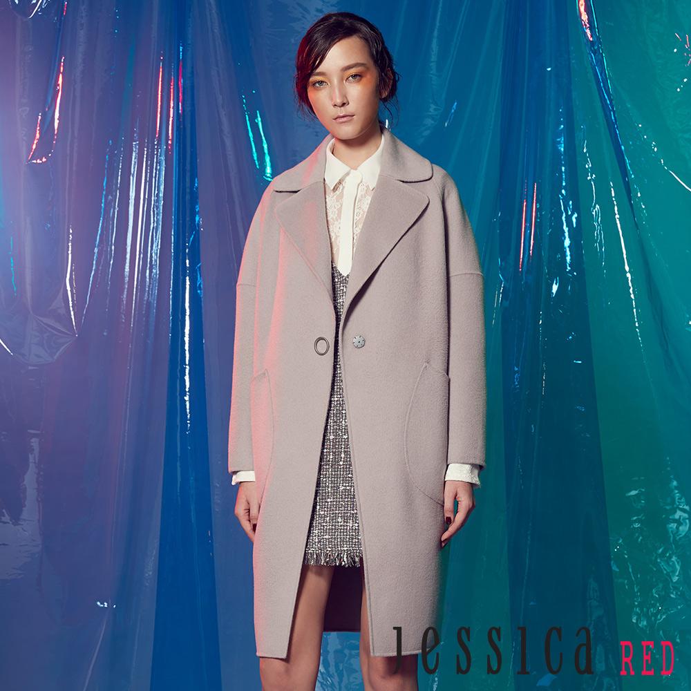 JESSICA RED - 翻領單釦設計羊毛長版大衣(淺棕)