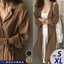 SCL 歐風排扣綁帶超長薄風衣外套 焦糖色 深藍色 T18160