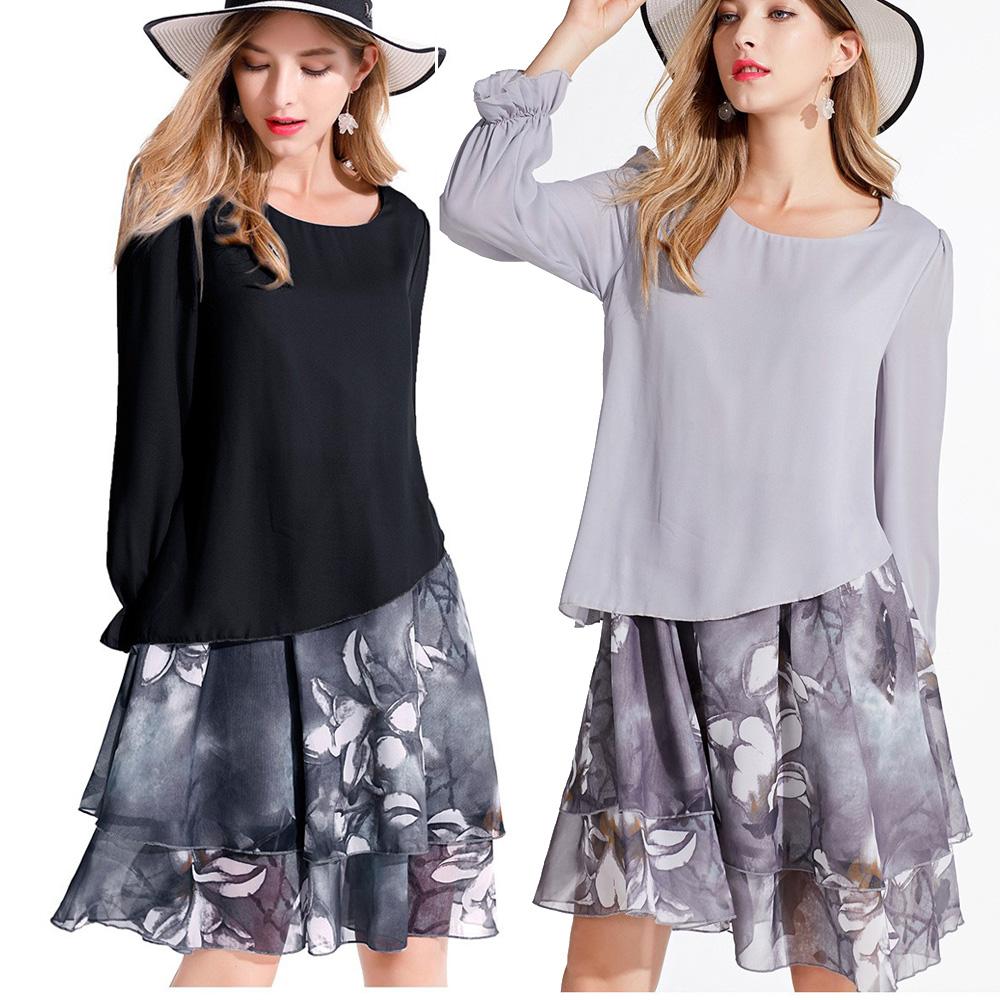 【麗質達人中大碼】OM3605雪紡印花洋裝(L-5XL)