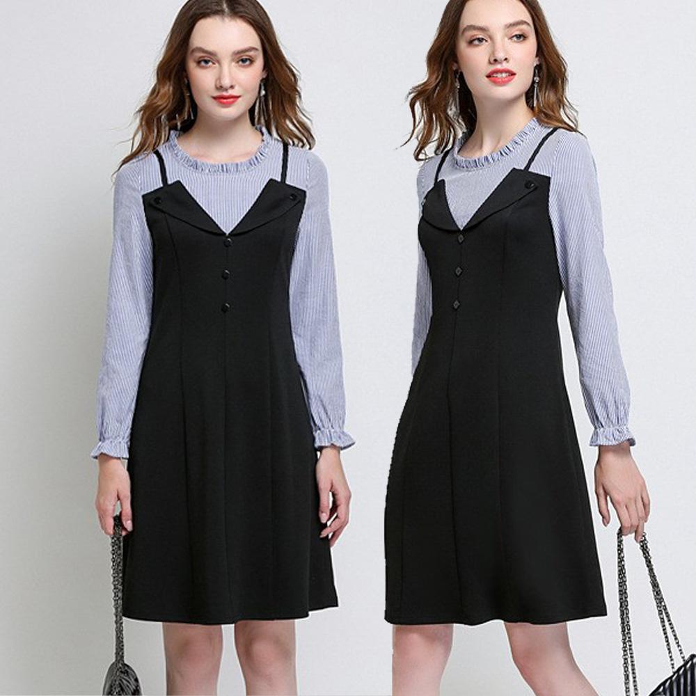 麗質達人(L-5XL)藍色條紋拼接洋裝HN6217