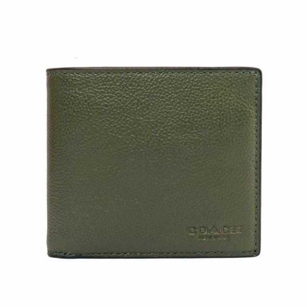 【COACH】素面全皮8卡對開短夾(深綠色)