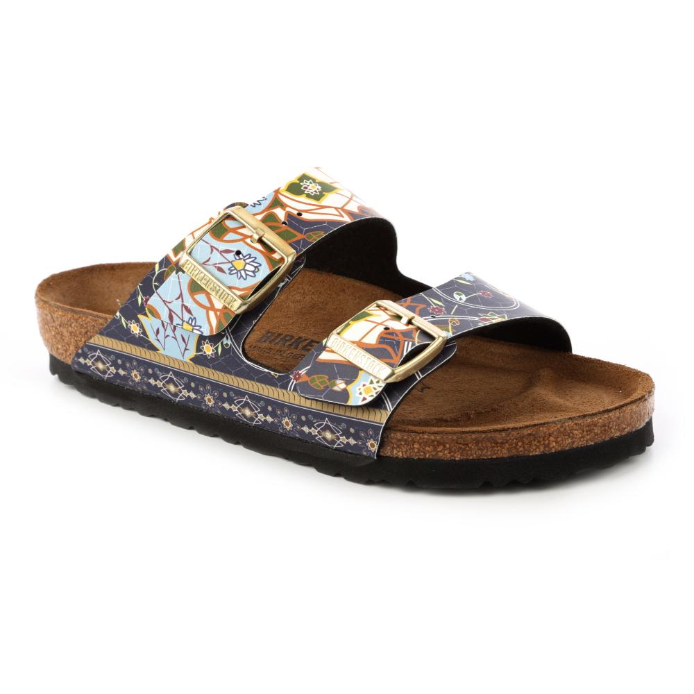 勃肯BIRKENSTOCK 1009800。ARIZONA亞利桑那 經典二條拖鞋(馬賽克藍)