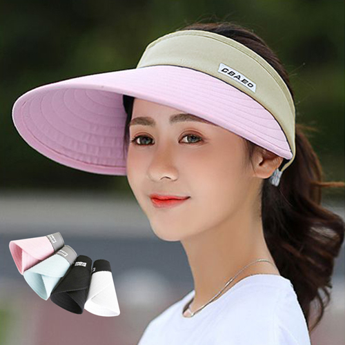 【活力揚邑】寬大帽檐防曬可捲收抗UV空頂遮陽帽(粉、淺藍、深藍、黑、白)-可選