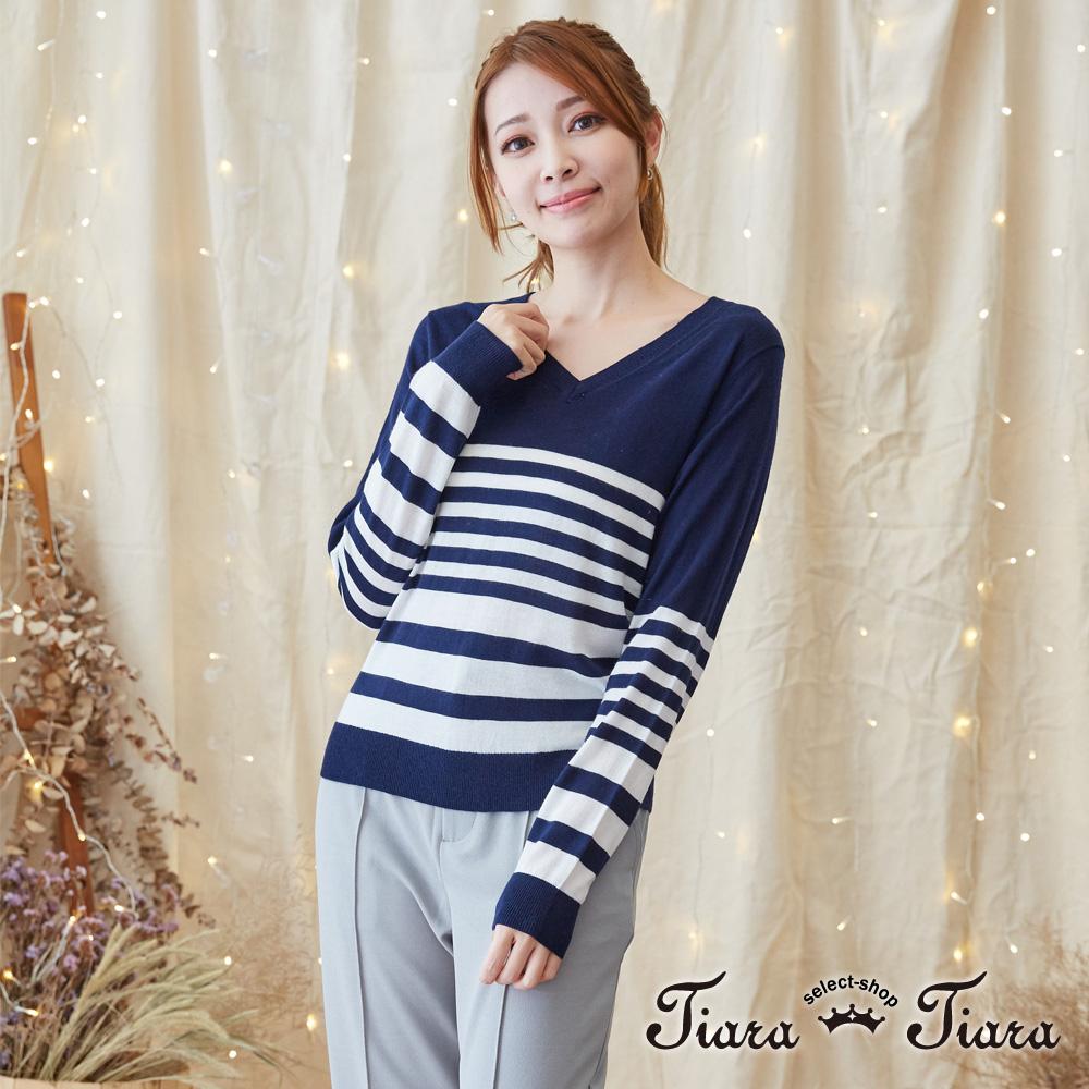 【Tiara Tiara】七色選 V領縮口長袖針織上衣(藏青/條紋/寶藍/棕/紅/黑) 激安
