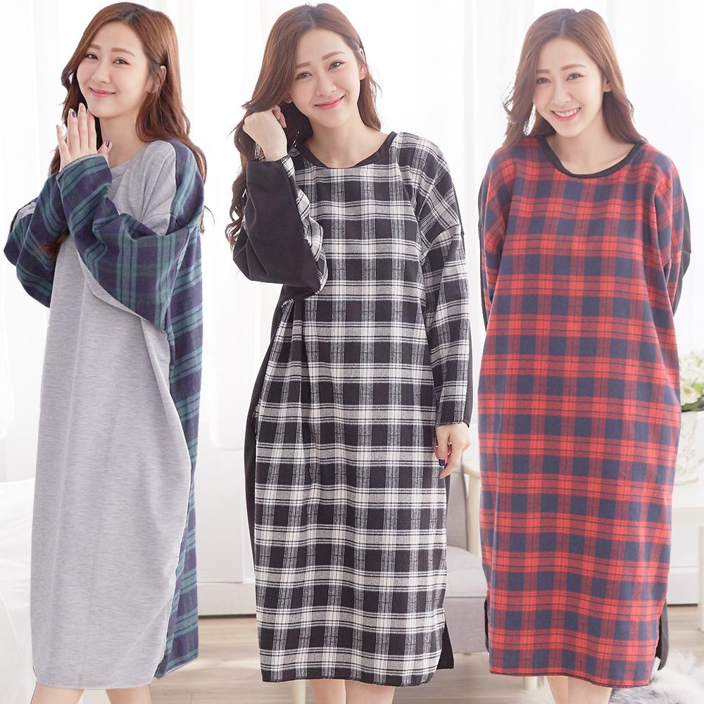 【Wonderland】英倫情人棉質居家休閒洋裝3件組(M)
