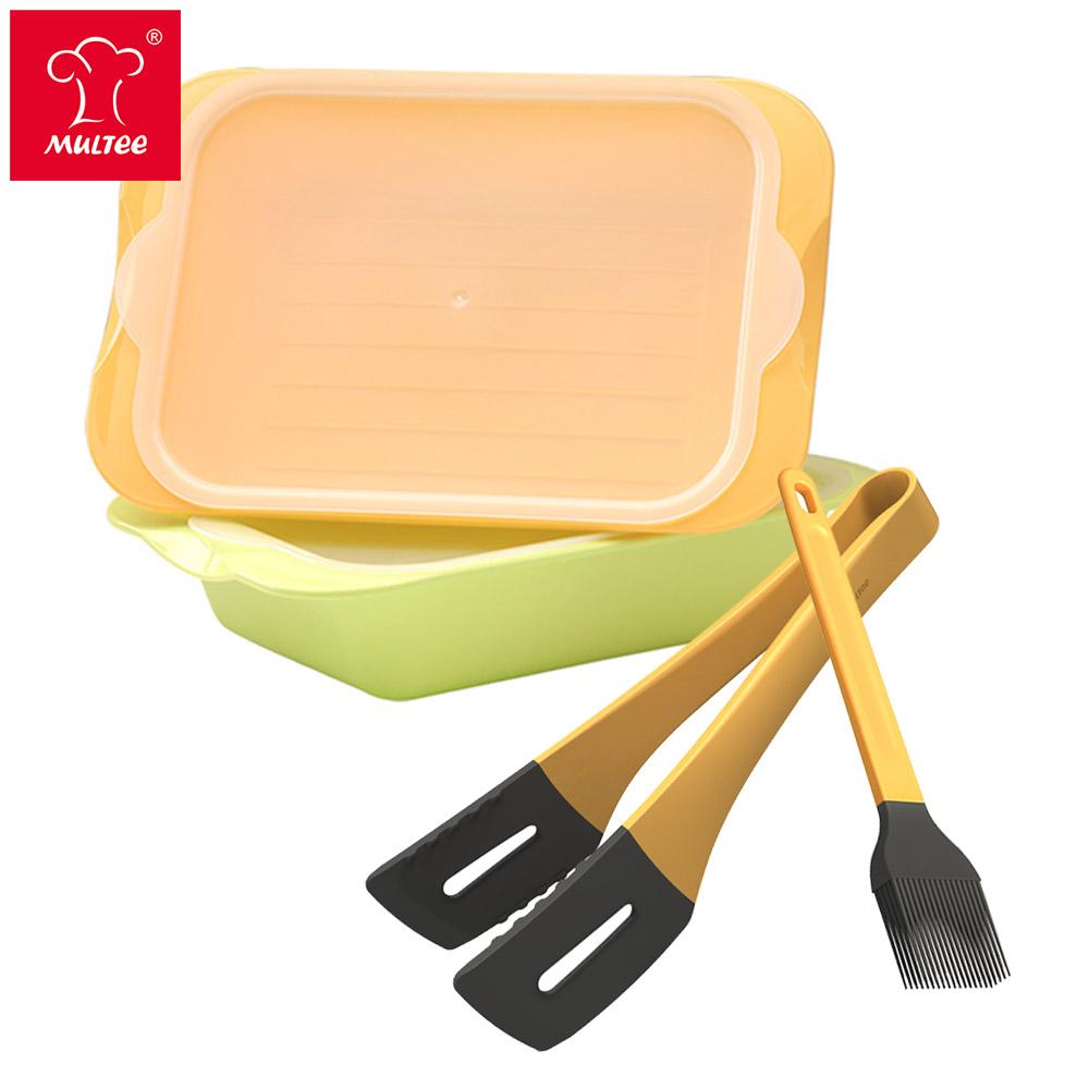 【MULTEE摩堤】燒烤工具組_牛排夾+醬料刷+醃漬盒2入