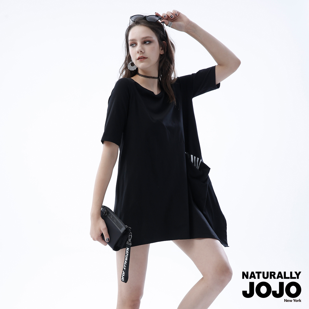 【NATURALLYJOJO】條紋口袋傘襬洋裝(黑)