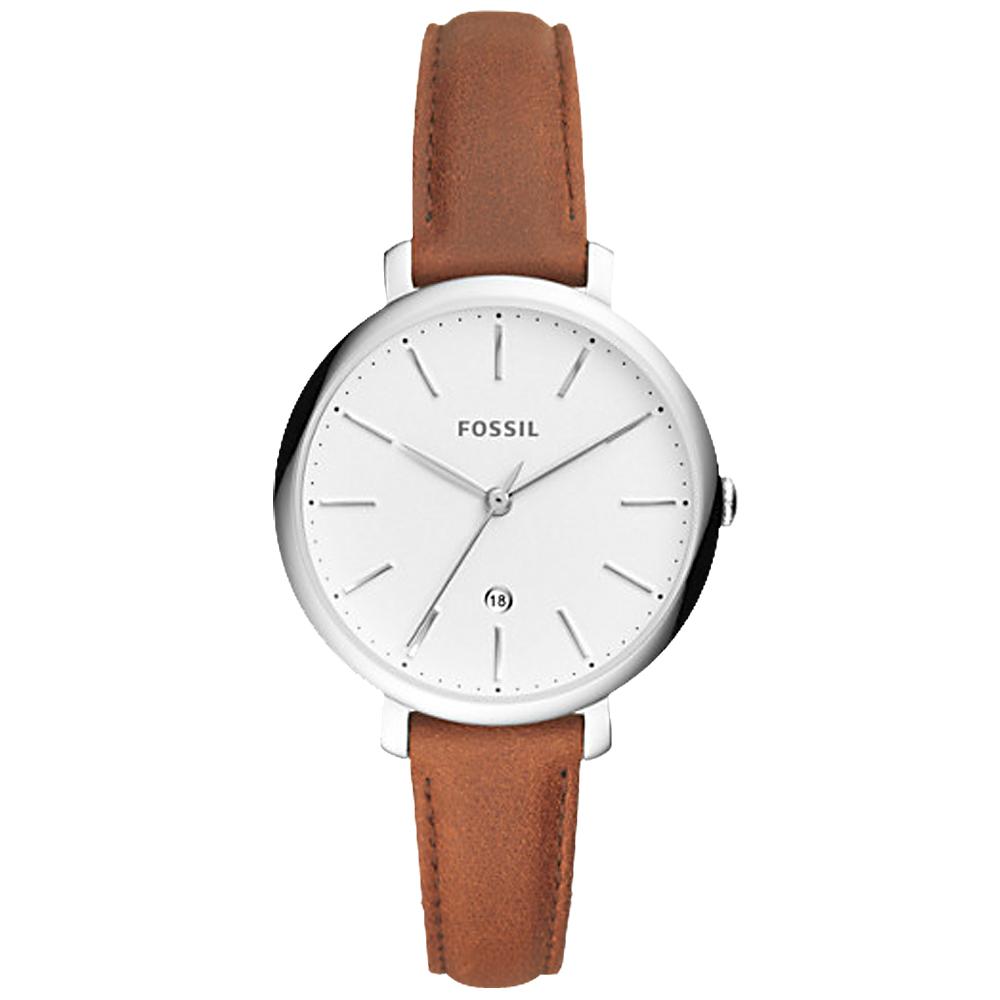 FOSSIL 文青指針女錶 皮革錶帶 白色錶面 日期顯示ES4368