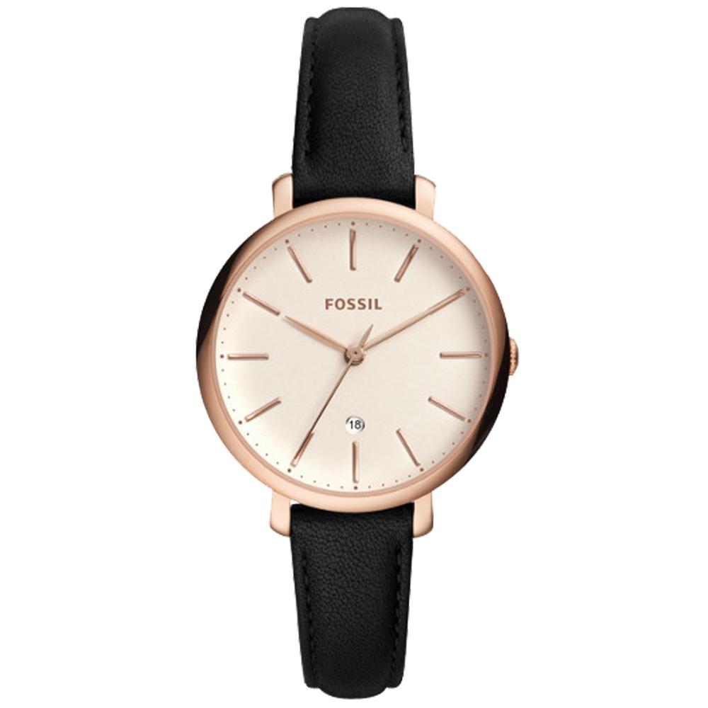 FOSSIL 文青指針女錶 皮革錶帶 白色錶面 日期顯示ES4370