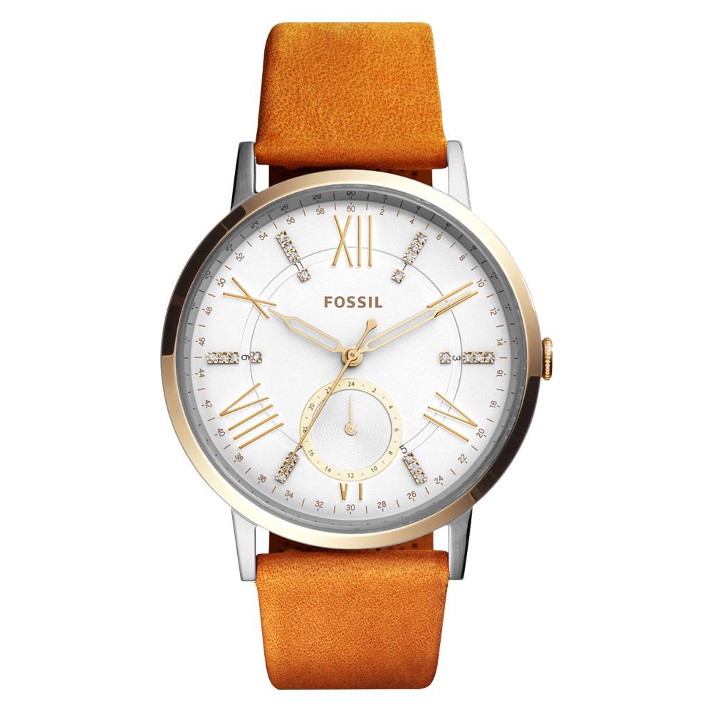 FOSSIL 璀璨羅馬數字指針女錶 皮革錶帶 白色錶面 防水50米ES4161