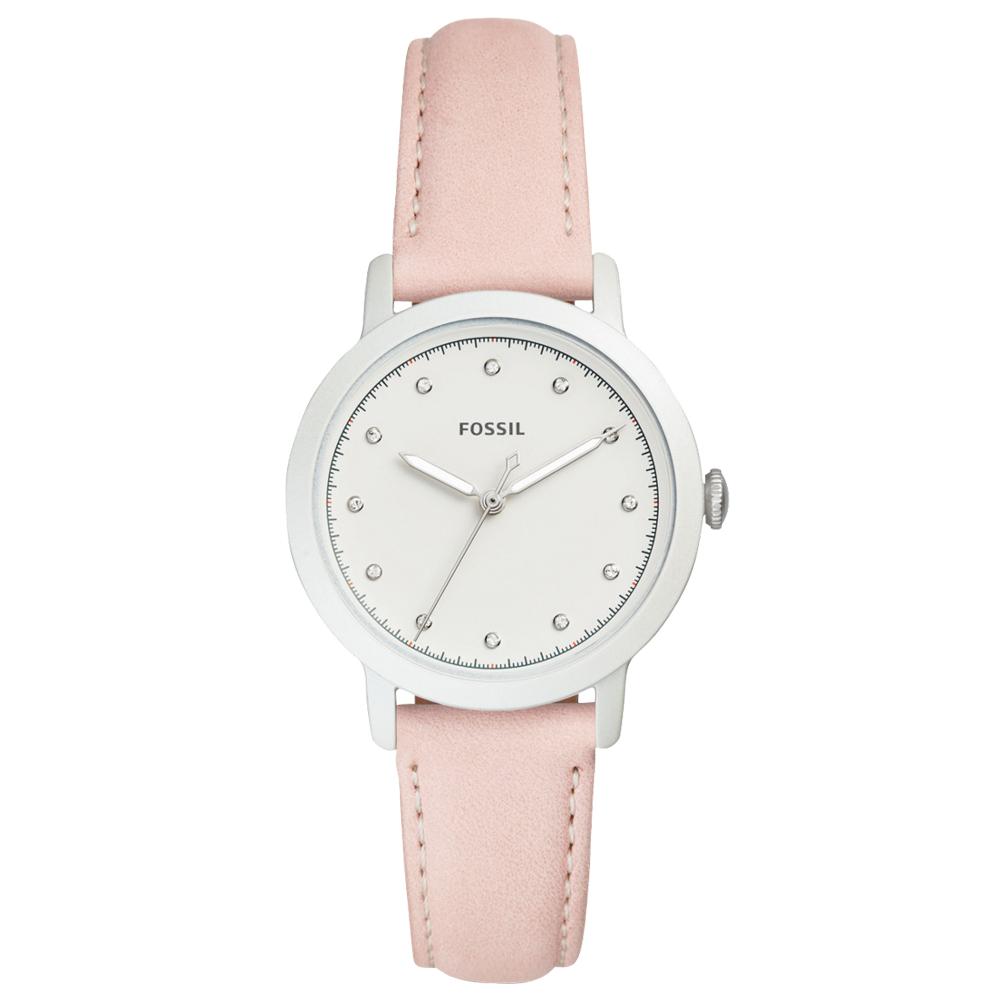 FOSSIL 甜美指針女錶 皮革錶帶 白色錶面 防水ES4399