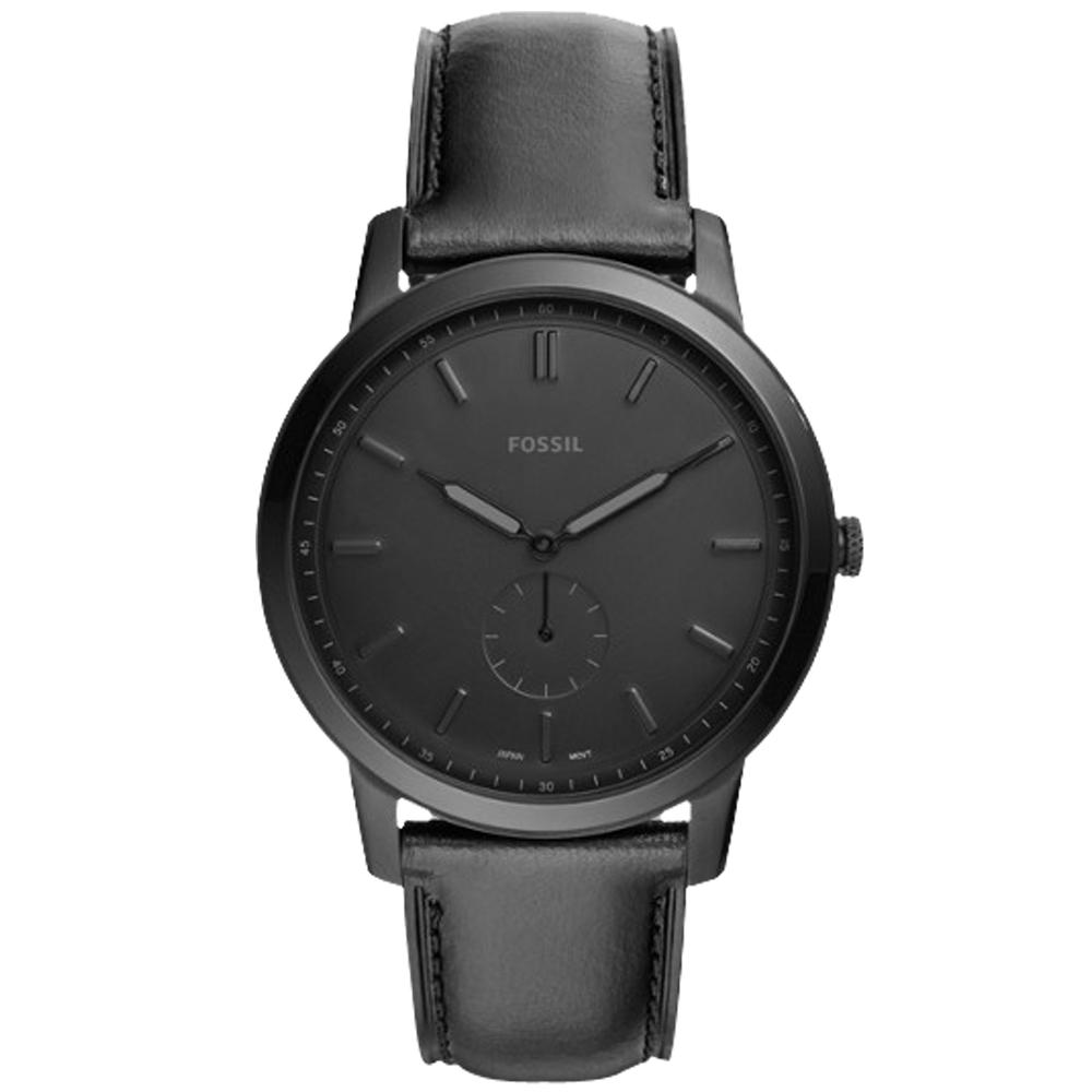 FOSSIL 純黑指針男錶 皮革錶帶 防水50米FS5447