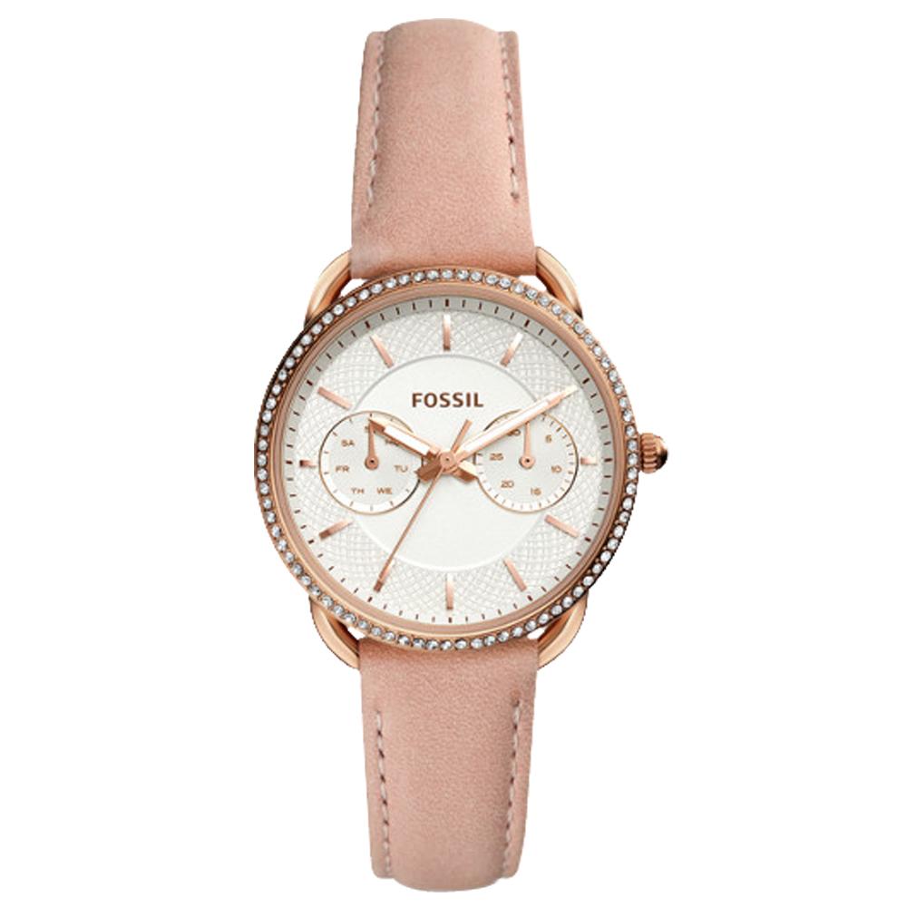 FOSSIL 晶鑽氣質指針女錶 皮革錶帶 白色織紋錶面 日期/星期顯示ES4393