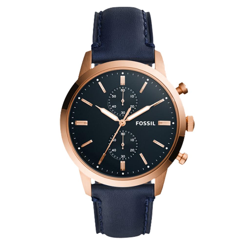 FOSSIL 都會三眼計時男錶 海軍藍錶面 防水50米FS5436