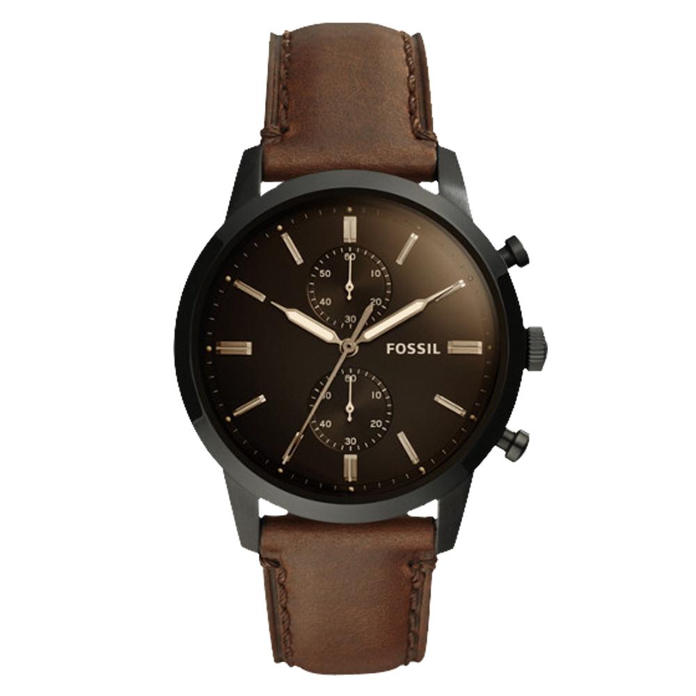 FOSSIL 都會三眼計時男錶 深棕色錶面 防水50米FS5437