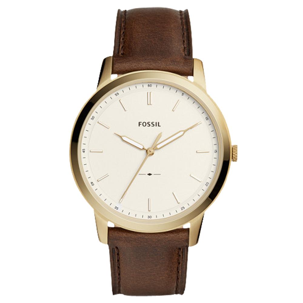 FOSSIL 極簡主義 指針男錶 皮革錶帶 象牙白錶面 防水50米FS5397