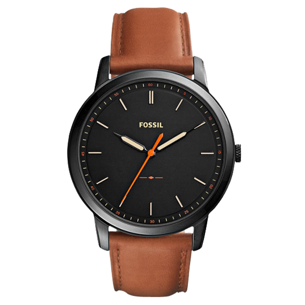 FOSSIL 極簡主義 指針男錶 皮革錶帶 黑色錶面 防水50米FS5305