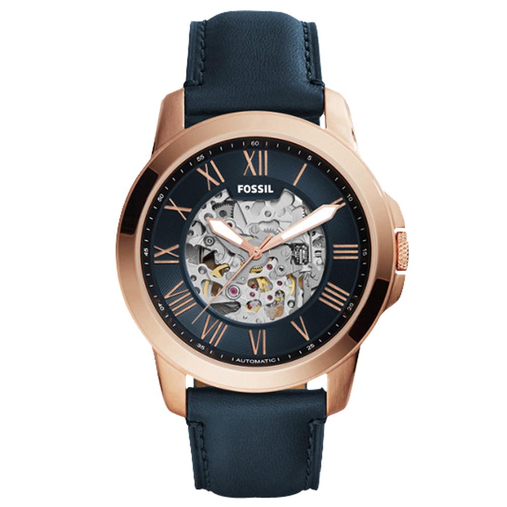 FOSSIL 鏤空羅馬數字機械男錶 皮革錶帶 藏青色錶面 防水50米ME3102