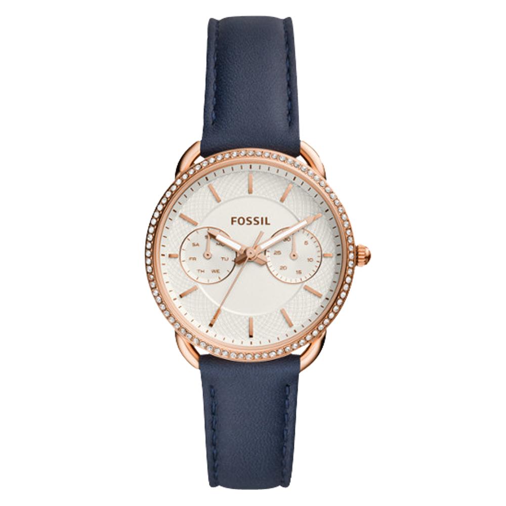 FOSSIL 晶鑽氣質指針女錶 皮革錶帶 白色織紋錶面 防水 日期/星期顯示ES4394