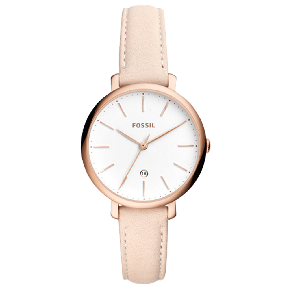 FOSSIL 文青指針女錶 皮革錶帶 白色錶面 日期顯示ES4369