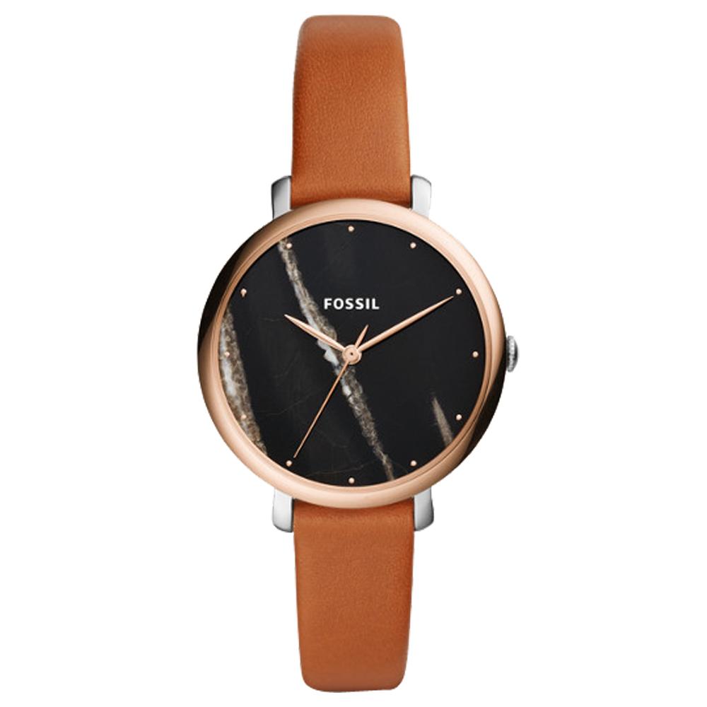 FOSSIL 大理石紋指針女錶 皮革錶帶 黑色大理石紋 防水ES4378