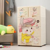 【Mr.box】大面寬-四層抽屜式附輪收納櫃(家有萌兔)