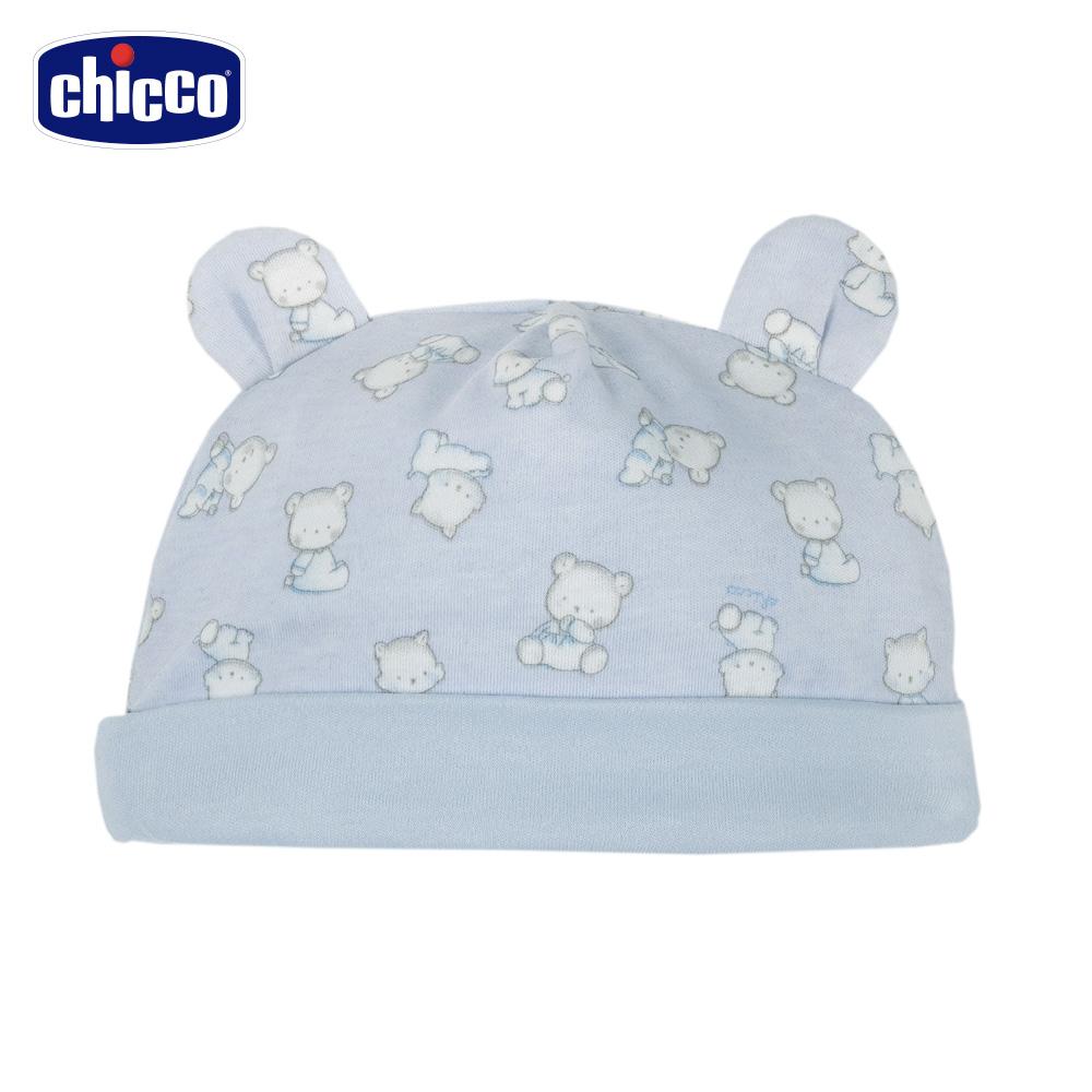 chicco~寶貝熊系列~印花熊耳帽~藍 頭圍36~48公分