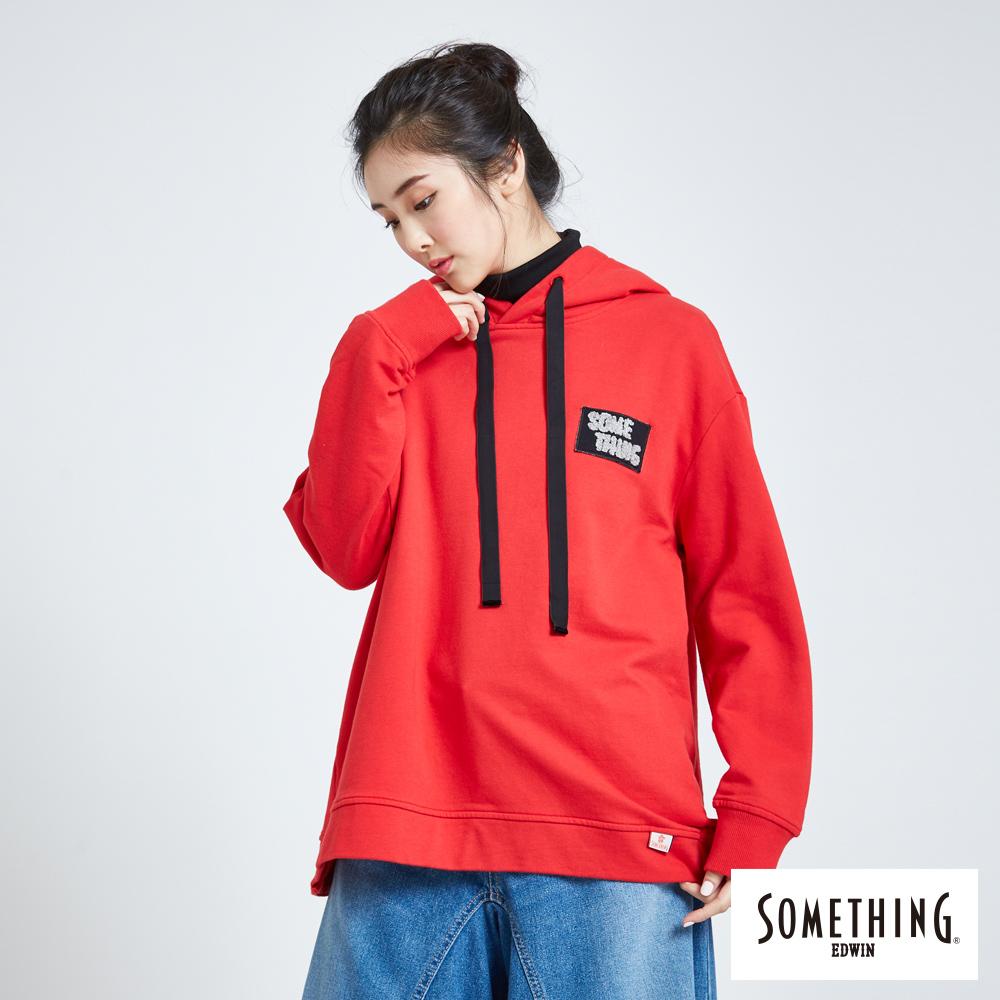 SOMETHING 青春高校 寬版交叉長袖連帽T恤-女-紅色