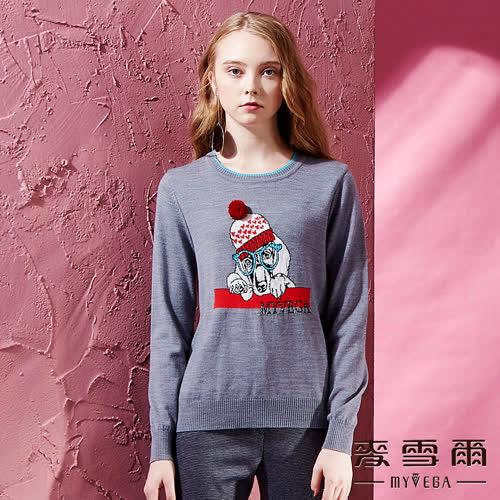 【麥雪爾】彈性保暖大狗毛球圓領羊毛上衣
