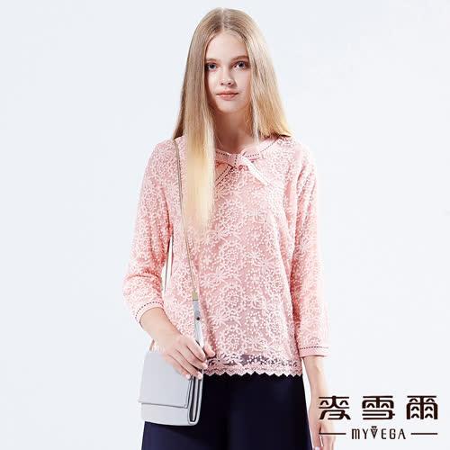 【麥雪爾】甜美蕾絲壓線蝴蝶結針織上衣
