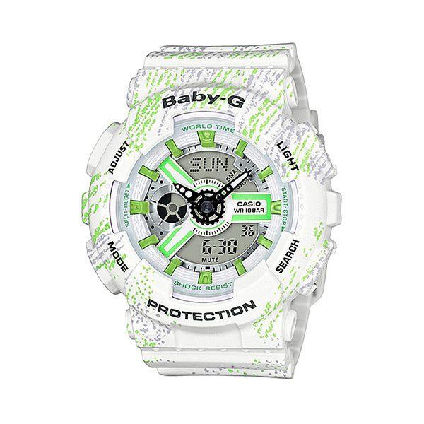 CASIO BABY-G 耀眼亮彩甜心運動休閒腕錶-白x綠-BA-110TX-7ADR