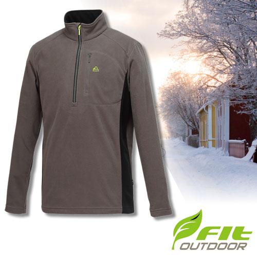 【FIT】男款 雙刷雙搖遠紅外線保暖配色衣(Warmth頂級布料_可水洗)/輕量立領半開襟長袖休閒衫_GW1106-74 中灰色 V