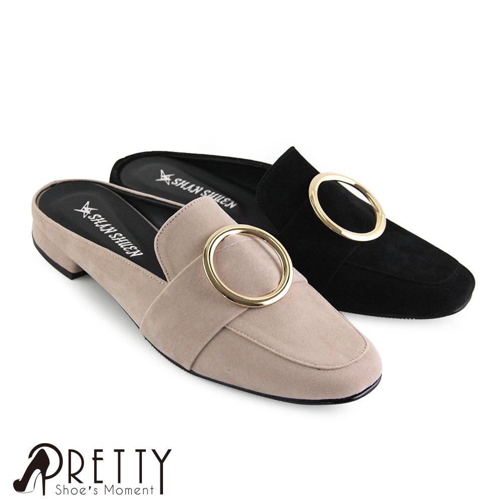 【Pretty】圓框絨布小方頭平底穆勒鞋