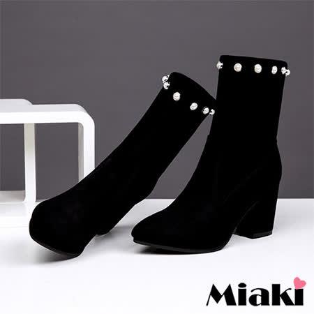 【Miaki】短靴.韓國時尚高跟踝靴 (黑色)