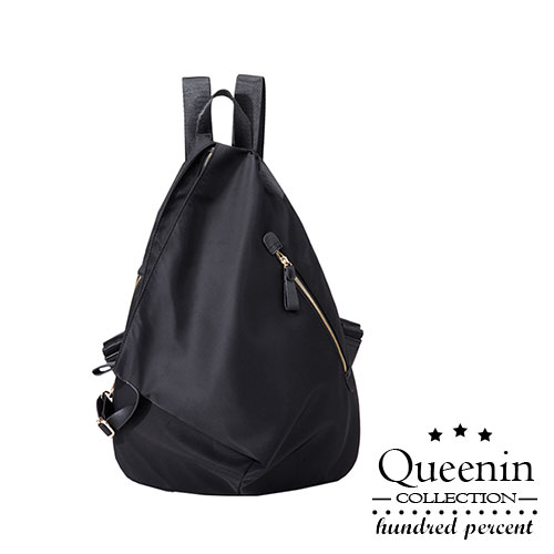 DF Queenin日韓- 日系簡約水滴形雙功能休閒防盜後背包-共2色