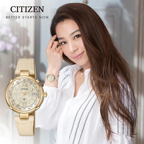 CITIZEN 星辰 xC系列愛戀玫瑰光動能電波鈦金屬腕錶 EC1042-00P