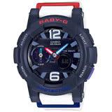 CASIO Baby-G系列 極限層次潮汐運動腕錶-深藍x白色錶帶-BGA-180-2B2DR