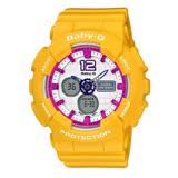 CASIO Baby-G系列 甜美風範時尚運動腕錶-黃x桃紅-BA-120-9BDR