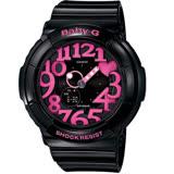 CASIO BABY-G 霓彩盛宴時尚運動腕錶-黑X桃紅-BGA-130-1BDR