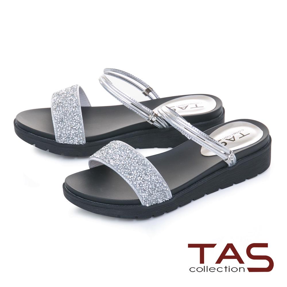 TAS滿版水鑽2way繫帶一字內增高涼拖鞋-星空銀