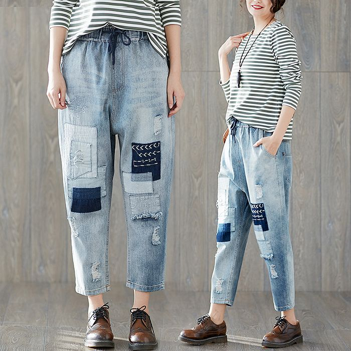 【Maya Collection】M~3XL秋季休閒寬版補丁牛仔褲【現貨加預購】